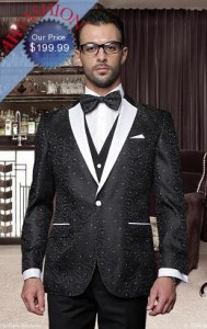 Classic Mens 1 Button with Vest Black Tuxedo with BowTie
