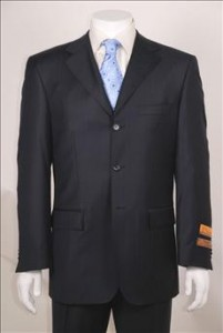 Men's Navy Tone on Tone 3 Button Non Pleated Pants Wool Suit