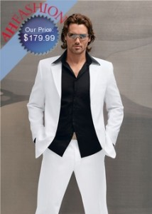 Men's High End Italian Made White Suit in Super 150's Wool By Tessori
