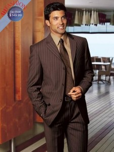 Brown Pinstripe Mens Suits 100% Wool