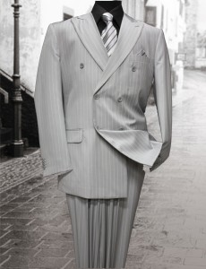 Light Grey Double Breasted Pinstripe Suit  by Tessori AHFashion Uomo