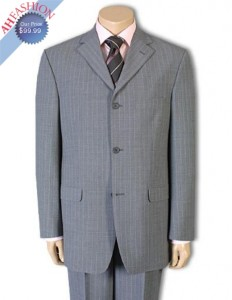 Men's Suit Light Gray Pinstripe Suit + Free Tie