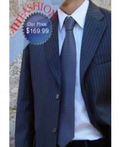$399.99 Navy Pinstripe Executive Suit Made Super 150's Virgin Wool, Vented, Only 169.99