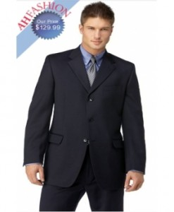 Men's Navy 3 Button Polyester Suit 100% High Twist Wool Touch Now On Sale $129.99
