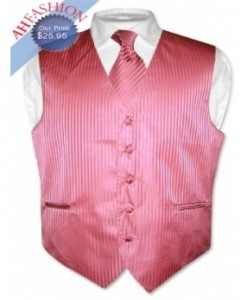 Coral Pink Vertical Striped Tuxedo Vest and Tie