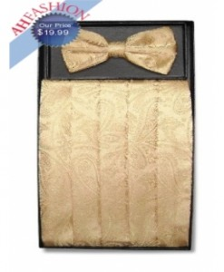 Gold Paisley Bow Tie and Cummerbund Set
