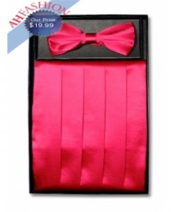 Hot Pink Bow Tie and Cummerbund Set