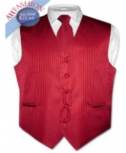 Red Vertical Striped Tuxedo Vest and Tie