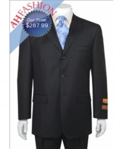 Men's  Black 3 Button Vented 1 Pleated Pant Wool Suit