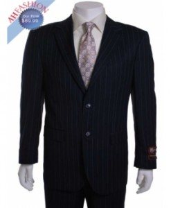 Giorgio Fiorelli Suit Navy Stripe 2 Button Vented with 1 Pleated Pants
