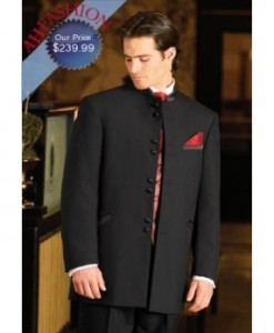 Fashion Tuxedo 8 Button Black Tuxedo Hand Made From Ultra Smooth 100% Wool Fabric + Shirt and Bowtie Now On Sale For $239.99