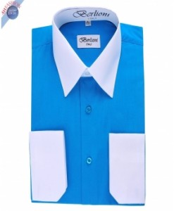 TURQUOISE TWO TONE DRESS SHIRT