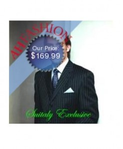 Brand New Navy Pinstripe Italian Made suit made with Ultra Smooth Super 150's Wool