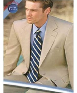 Men's Suit Light Tan Wool Blend Suit + Free Tie