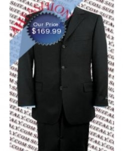 Beautiful 3 Button Black Suit Vested 3 Piece Super 150's Wool Suit