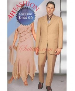 Mens Tan Suit Vented Notched Lapel Super 150s Wool