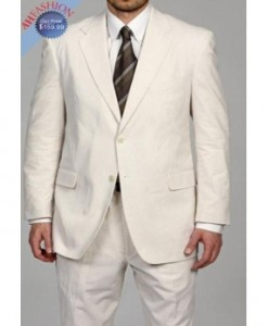 Mens 2-Button Ivory Wool Suit