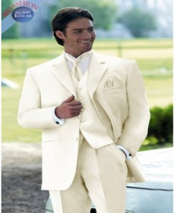 Mens 3 Button Ivory Tuxedo + Matching Vest and Tie