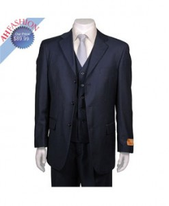 Men's Navy Blue 3-button Suit with Vest