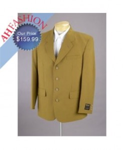 Collection 2007 Mustard 100% Virgin Suit in 3 Button Non Vented Ultimate Quality