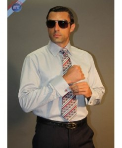 Silver French Cuff Dress Shirt, Tie and Cufflink Set