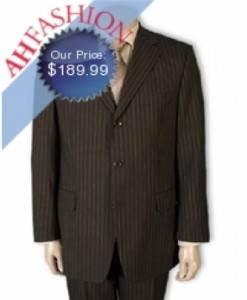 Brown Pinstripe Men's Super 140s Wool Amazing Deal Ultra Smooth Fabric