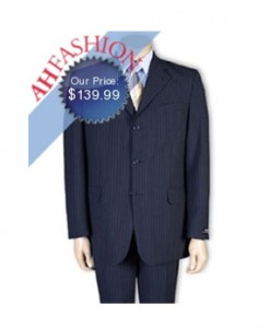 Thin Stripes Now On Sale! Navy Stripe Vented Italian Cut Men's Suit in Super 120's Wool Suit