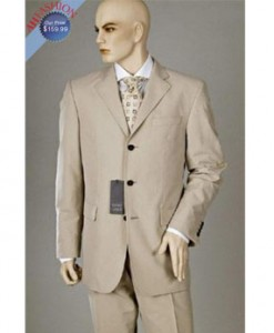 Tan Suit 3 Button 100% Wool On Sale