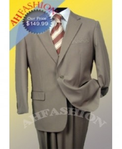 1 button Tan Italian Made Wool Suit Super 150's Wool Tan Suit