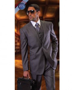 2-Button Charcoal Vested Suit by Tzarelli AHFashion Uomo