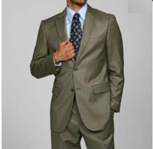 2 Button Olive Pinstripe Suit