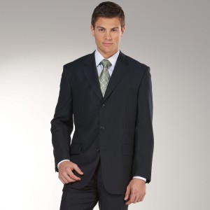 Classic Black Faded Pinstripe Suit in 2-Button Style