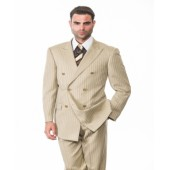 Double Breasted Tan Suit with Tonal Stripes by Tessori AHFashion Uomo