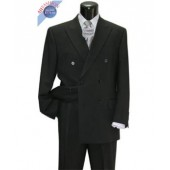 Men's Suit Double Breasted Black Concervative Look + Free Tie