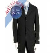 Signature Classic Close Pinstripe Black Men's Suit