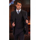 Tzarelli Ahfashion Uomo 2-Button Vested Black Suit