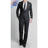 Black 2-Button Slim-Fit Suit. Clean Lined Style Perfect For Weddings