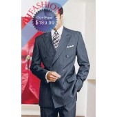 Double Breasted Suit Navy Pinstripe Super 150's Wool, Mens Suits For Less