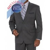 Extra Long 2 Button Grey Pinstripe Suit