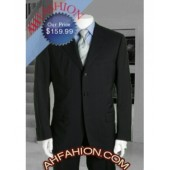 Black with Light Stripe Men's Super 150's Wool Suit, Ultra Fine Wosted Wool Made In Italy