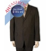 Super 150s Brown Pinstripe Men's Suit Ultra Smooth All Year Around