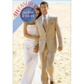 Amazing Linen Tan 2 Button Wedding Suit Now On Sale