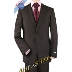 2-Button Dark Brown Sharkskin Suit in 100% Super 140's  High Twist Wool