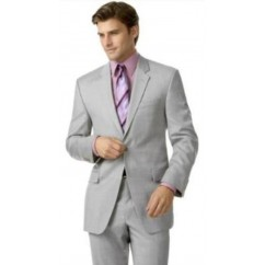 Men's 2-Button Silver Suit