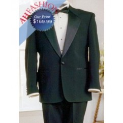 One Button Tuxedo Black w/ Satin Lapels Now On Sale for $149.99