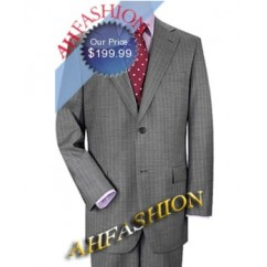 Gray Pinstripe 3 Button Suit with Blue Stripes. Made in Italy from Super 150s Wool