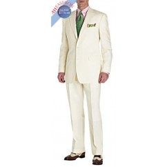 Men's Ivory 2-Button Suit Perfect For Wedding + Free Tie