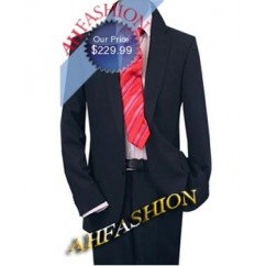 Mens 2-Button Navy Suit Wool Italian Men Suit, + Silk Tie + Shirt