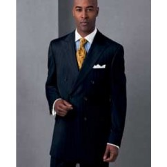 Men's Italian Classic Signature Double Breasted Wool Suits in Navy Pinstripe