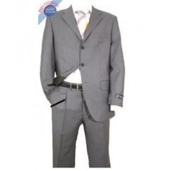 Men's Light Gray Shadow Stripe Suit
